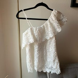 J.O.A. Tops - NWT J.O.A. Layered One Shoulder Lace Top - White